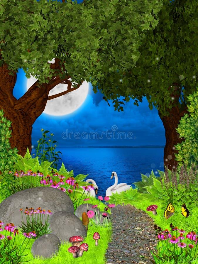 Noche de hadas stock de ilustración