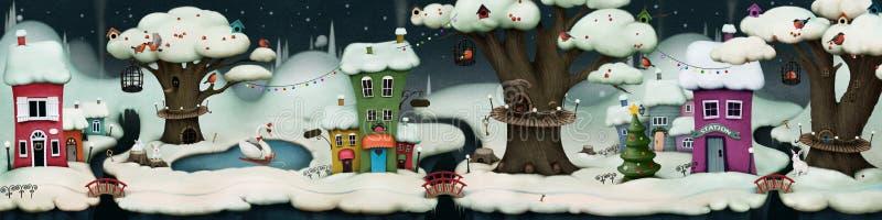 Noche de hadas del invierno stock de ilustración
