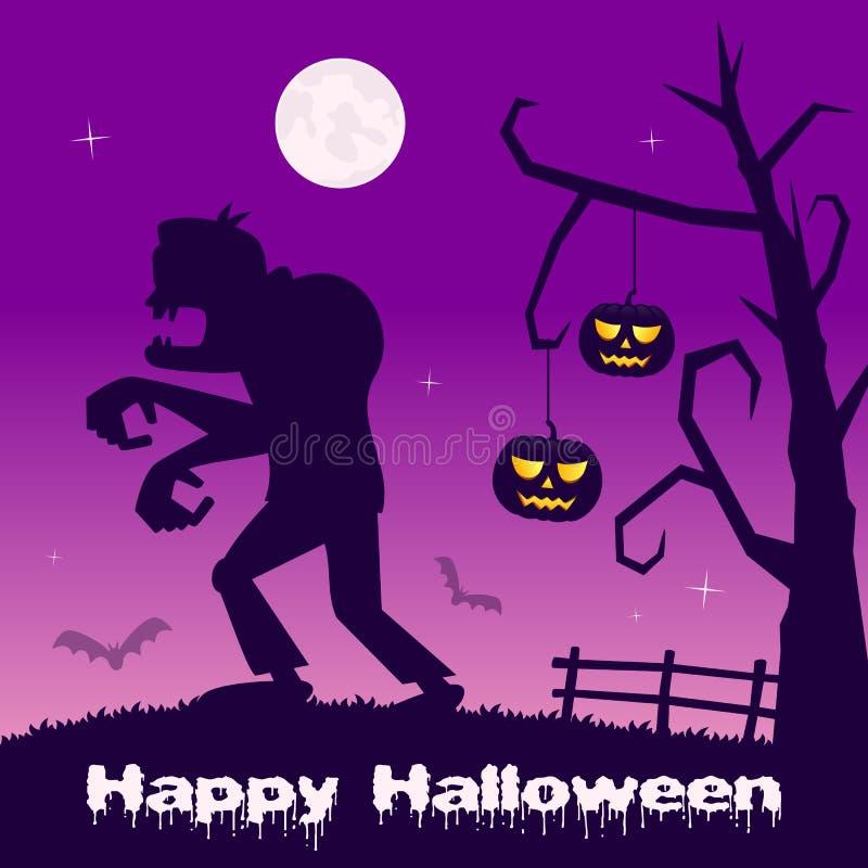 Noche de Halloween - calabazas y zombi ilustración del vector