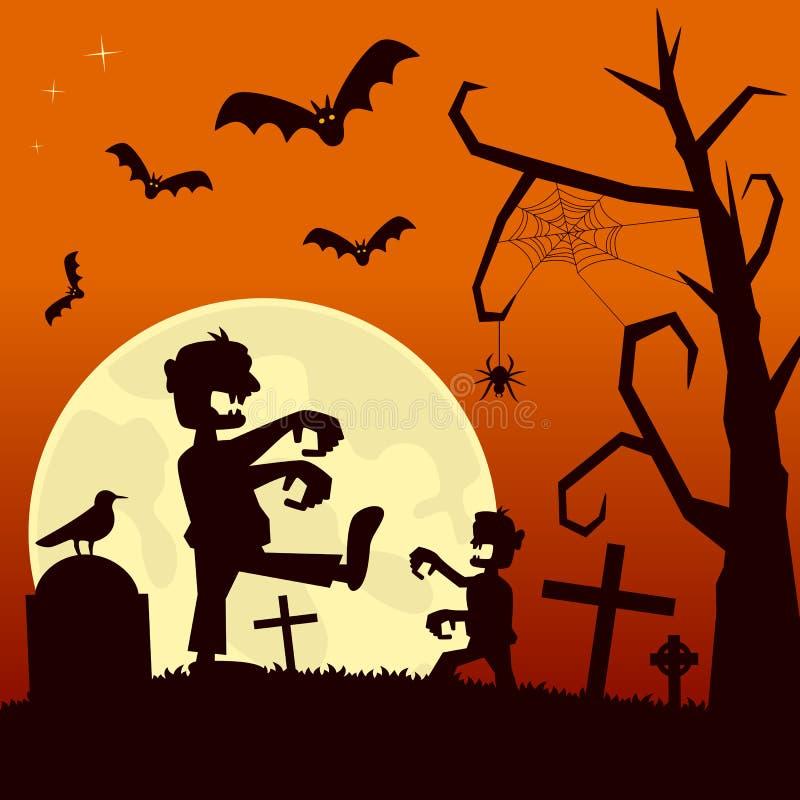 Noche de Halloween con los zombis ilustración del vector