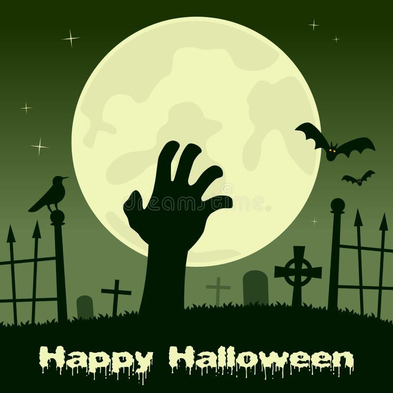 Noche de Halloween - mano del zombi y Luna Llena ilustración del vector