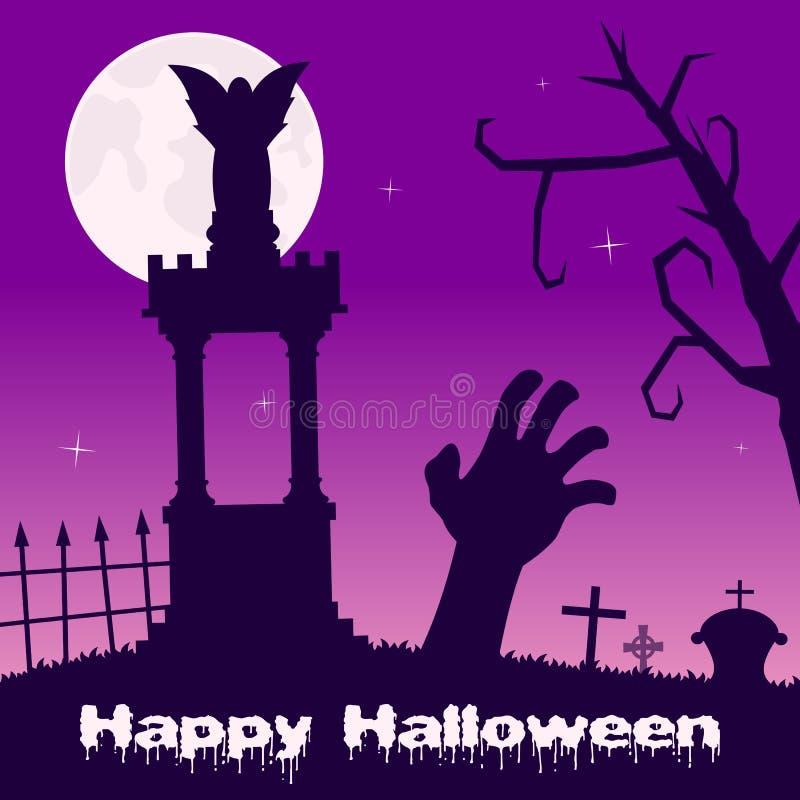 Noche de Halloween - mano y tumbas del zombi ilustración del vector