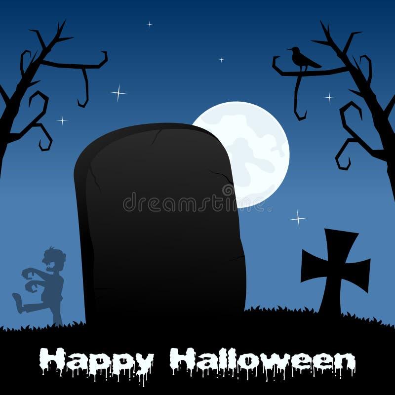 Noche de Halloween - piedra sepulcral y zombi stock de ilustración