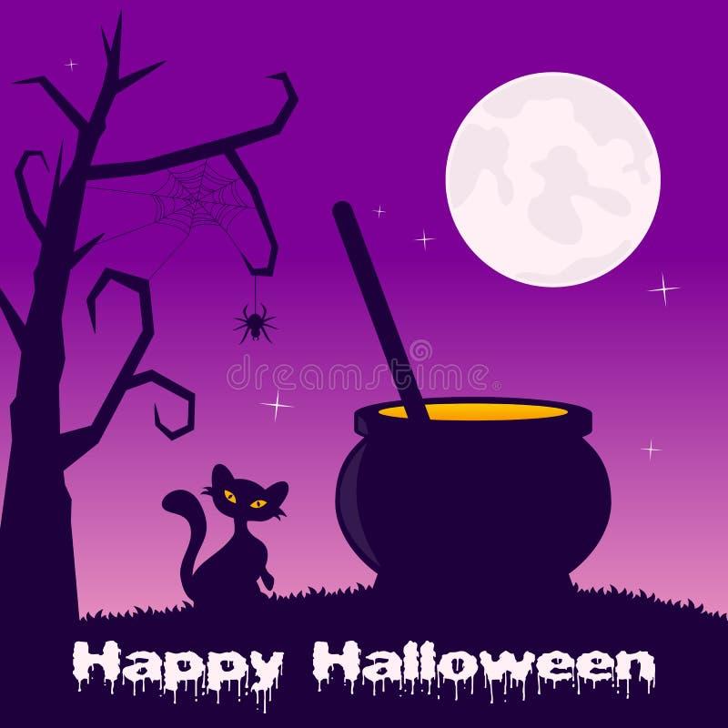 Noche de Halloween - pote mágico y gato negro stock de ilustración