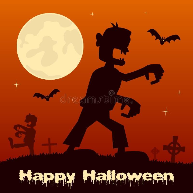 Noche de Halloween - zombi y cementerio ilustración del vector