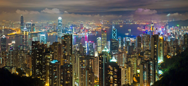 Noche de Hong-Kong imágenes de archivo libres de regalías