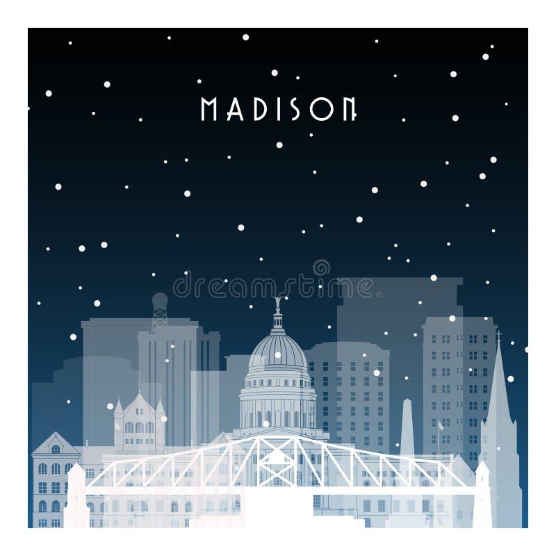 Noche de invierno en Madison ilustración del vector