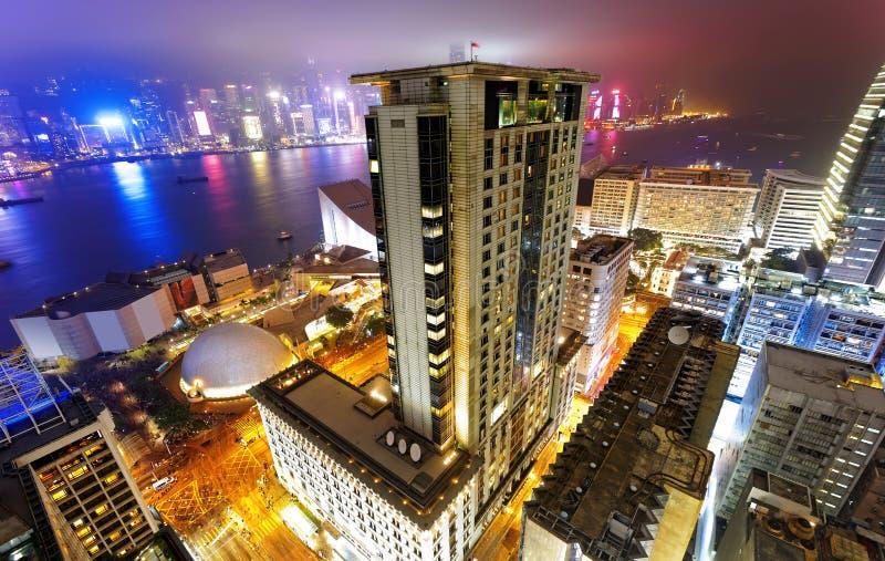 Noche de la ciudad de Hong-Kong fotografía de archivo