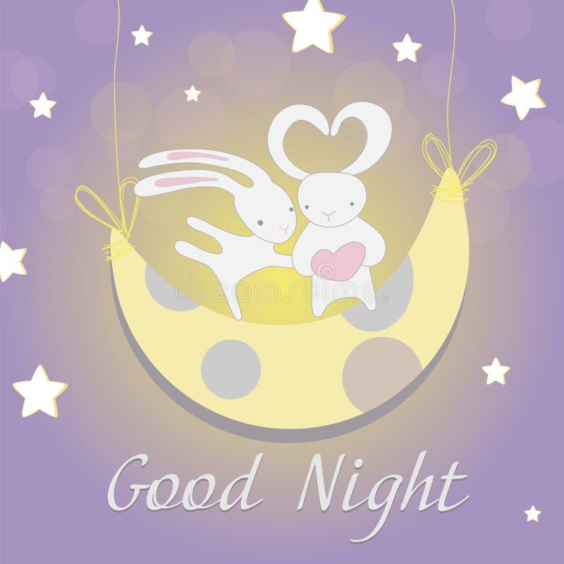 Noche de la luna del conejito de dos blancos stock de ilustración