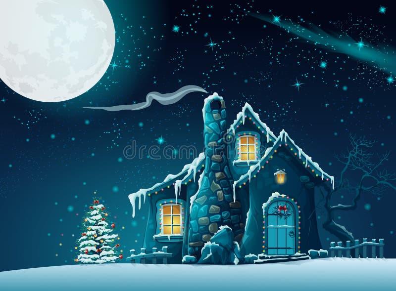 Noche de la Navidad con una casa fabulosa ilustración del vector