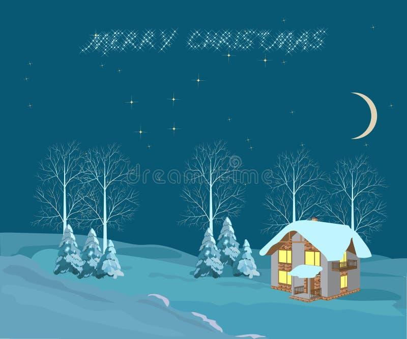 Noche de la Navidad, ejemplo ilustración del vector