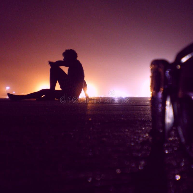Noche de la playa foto de archivo