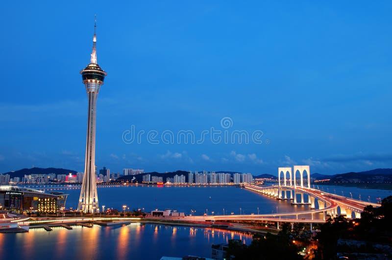 Noche de Macau fotografía de archivo