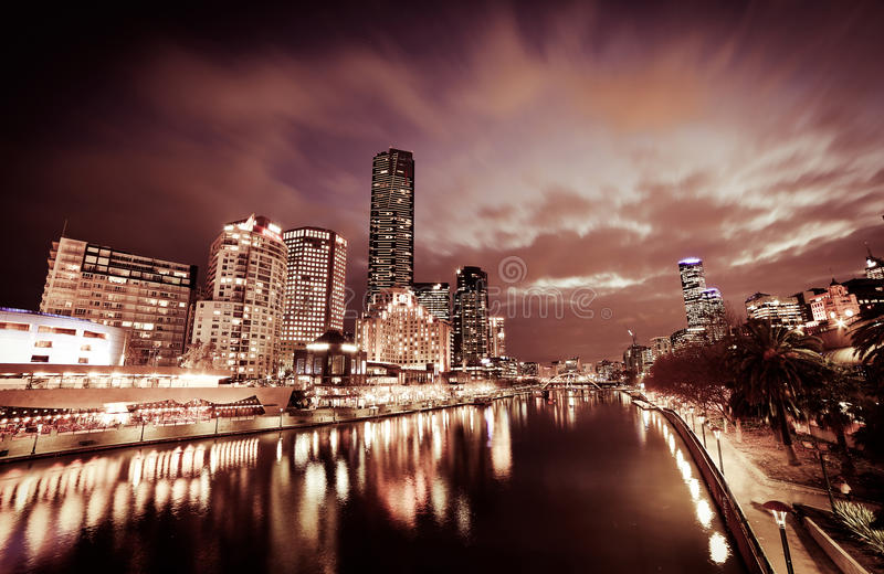 Noche de Melbourne foto de archivo libre de regalías