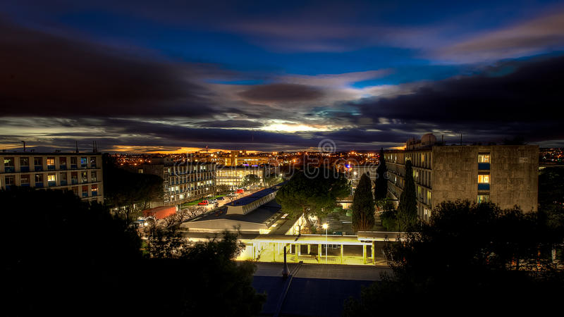 Noche de Montpellier imagenes de archivo