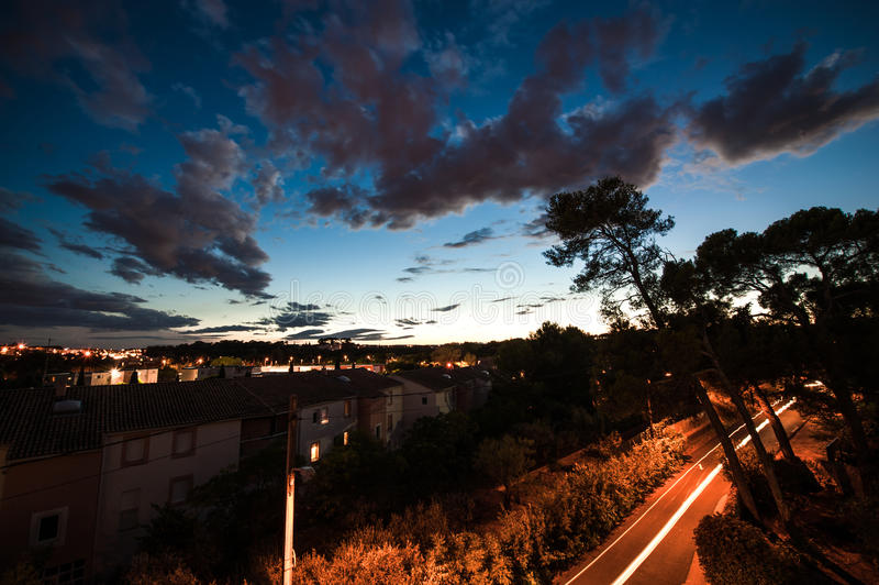 Noche de Montpellier imagen de archivo