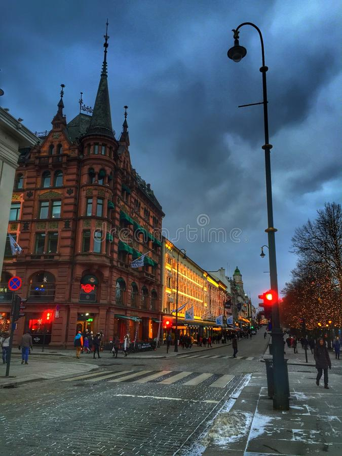 Noche de Oslo imagenes de archivo
