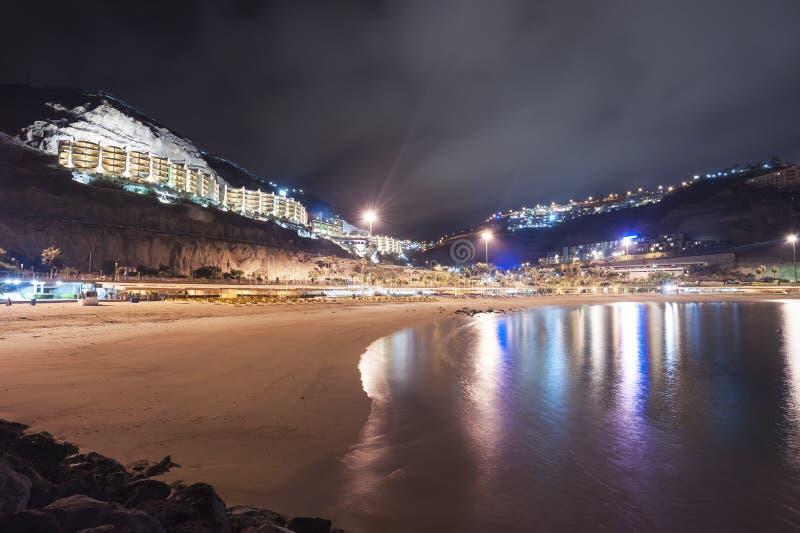 Noche de Playa Amadores Gran Canaria fotografía de archivo