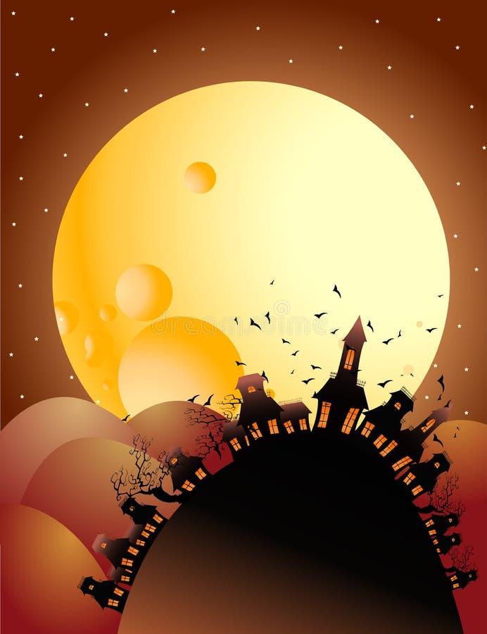 Noche de víspera de Todos los Santos de la Luna Llena ilustración del vector
