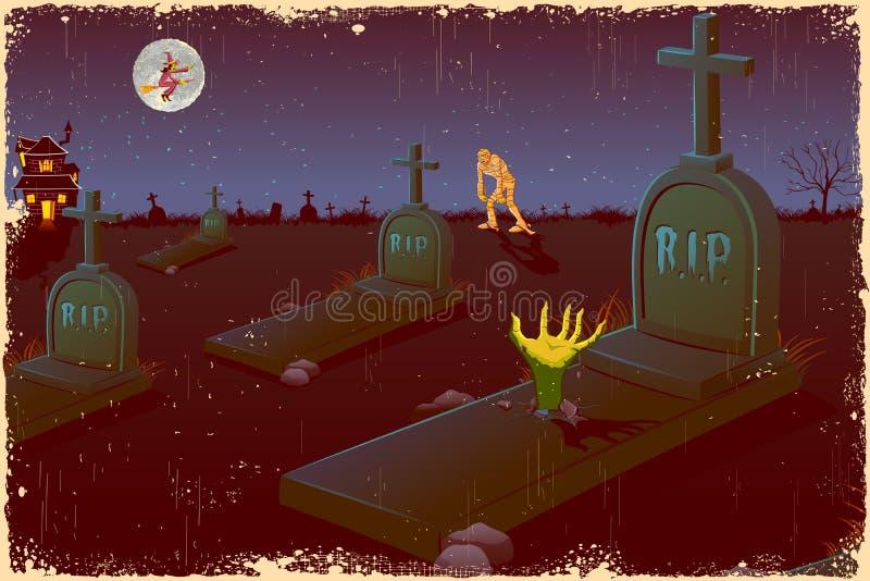 Noche de Víspera de Todos los Santos en cementerio ilustración del vector