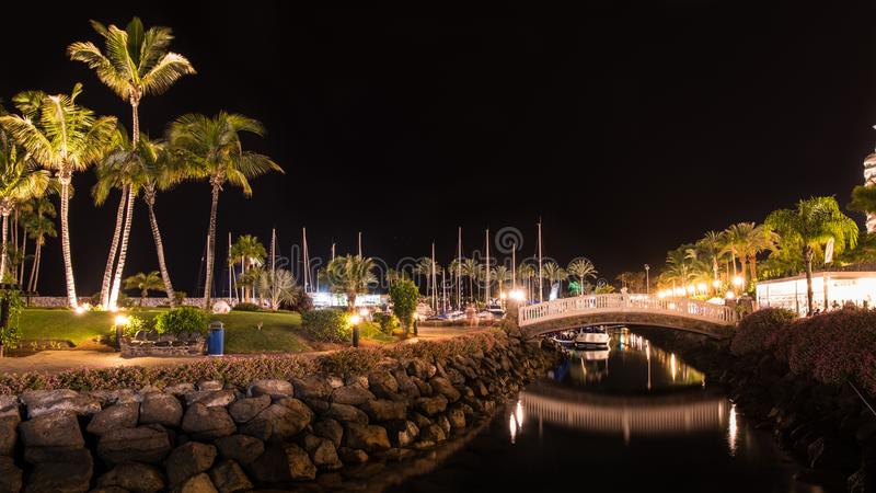Noche de verano en la isla de Gran Canaria España foto de archivo libre de regalías