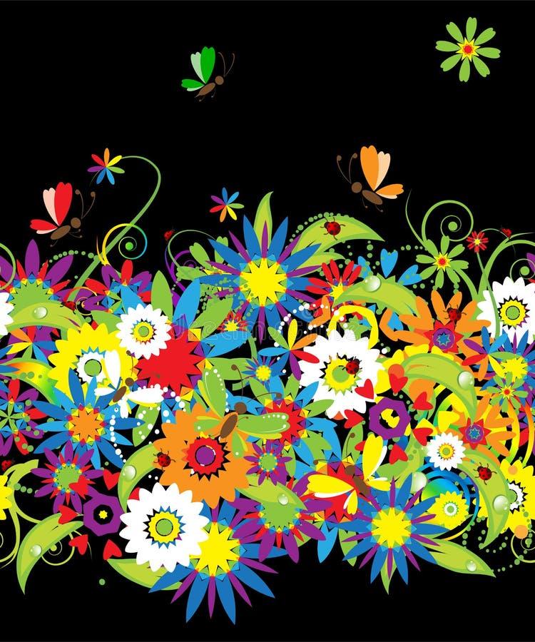 Noche de verano. Fondo inconsútil floral libre illustration