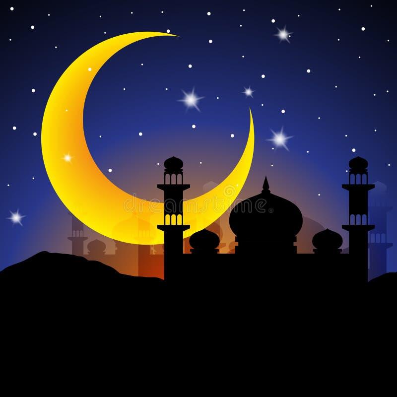 Noche del ‹del †del Ramadán con la luna grande stock de ilustración