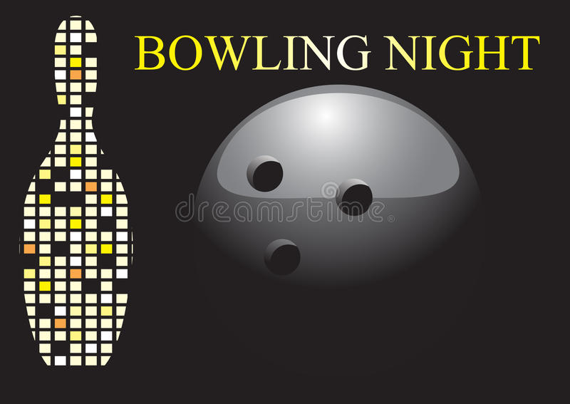 Noche del bowling ilustración del vector