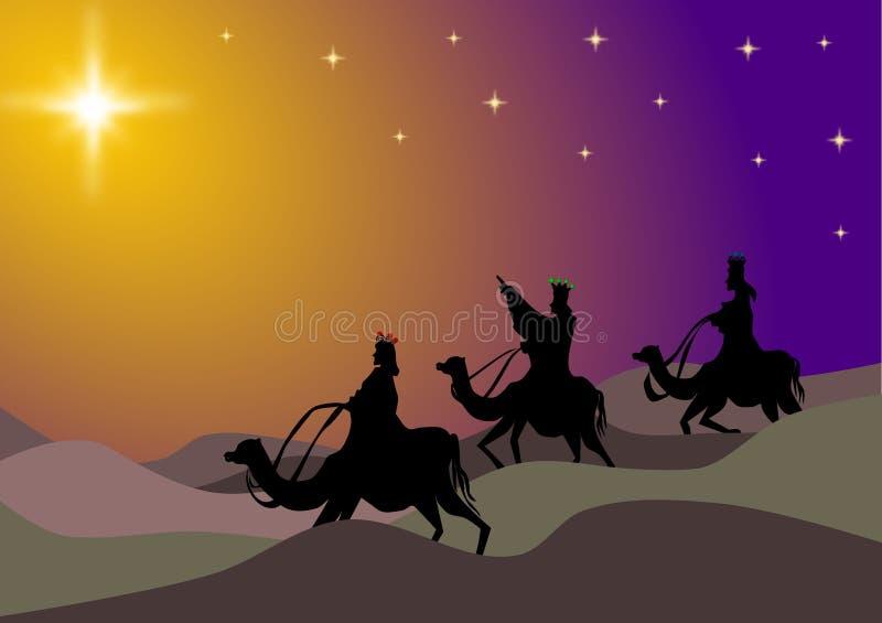 Noche del desierto de tres hombres sabios ilustración del vector