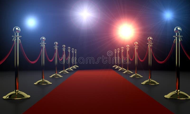 Noche del encanto - la alfombra roja y la cámara destellan stock de ilustración
