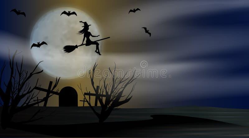 Noche del fondo de Halloween con volar a la bruja joven a la Luna Llena del fondo sobre el cementerio Vector libre illustration