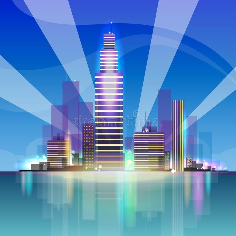 Noche del fondo del paisaje urbano de la opinión del rascacielos de la ciudad ilustración del vector