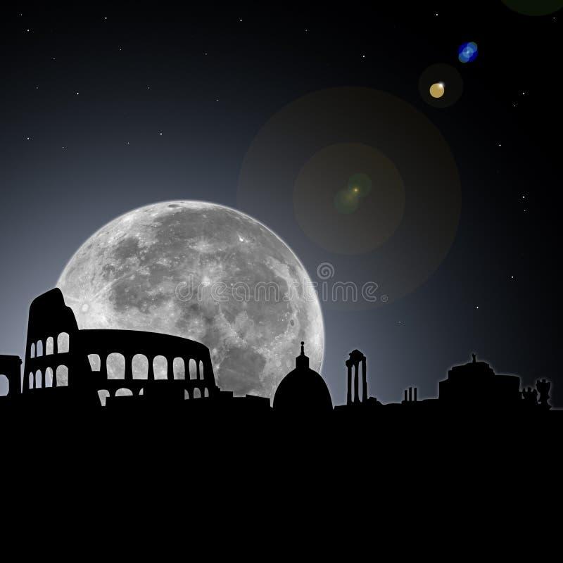 Noche del horizonte de Roma con la luna stock de ilustración