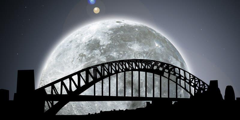Noche del horizonte de Sydney con la luna stock de ilustración