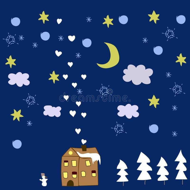 Noche del invierno foto de archivo