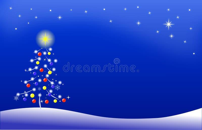 Noche del invierno con el árbol de navidad estilizado stock de ilustración