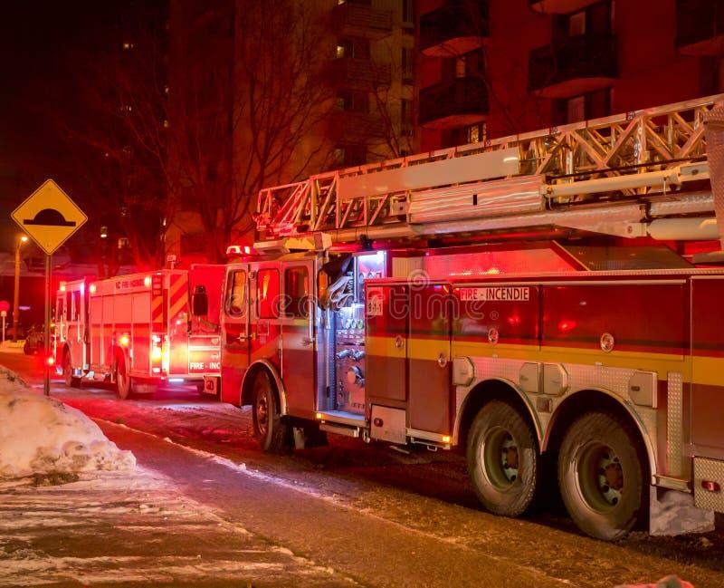Noche del invierno de los Firetrucks imagen de archivo libre de regalías