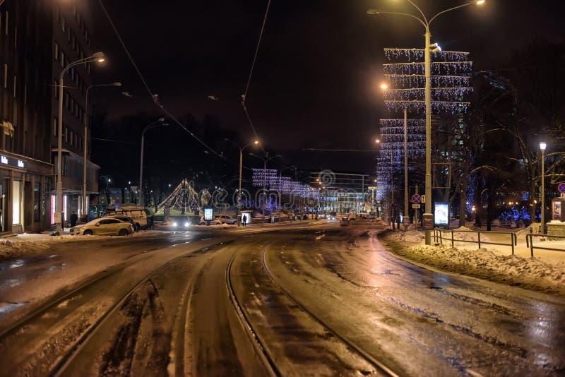 Noche del invierno de Tallinn fotografía de archivo libre de regalías