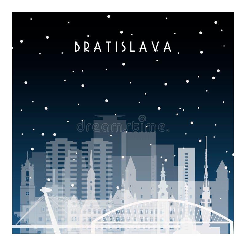 Noche del invierno en Bratislava ilustración del vector