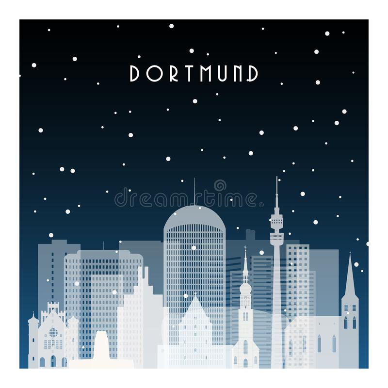 Noche del invierno en Dortmund stock de ilustración