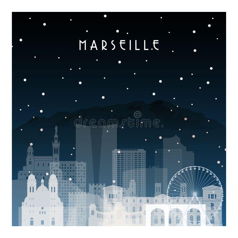Noche del invierno en Marsella libre illustration