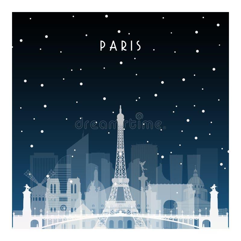 Noche del invierno en París stock de ilustración
