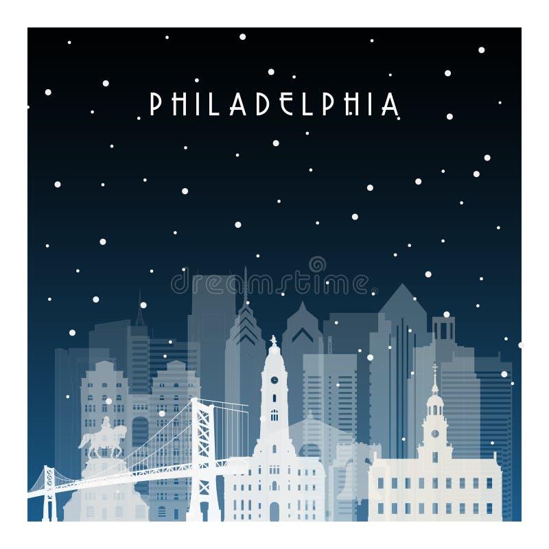 Noche del invierno en Philadelphia stock de ilustración