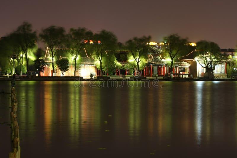 Noche del lago DaMing fotografía de archivo libre de regalías