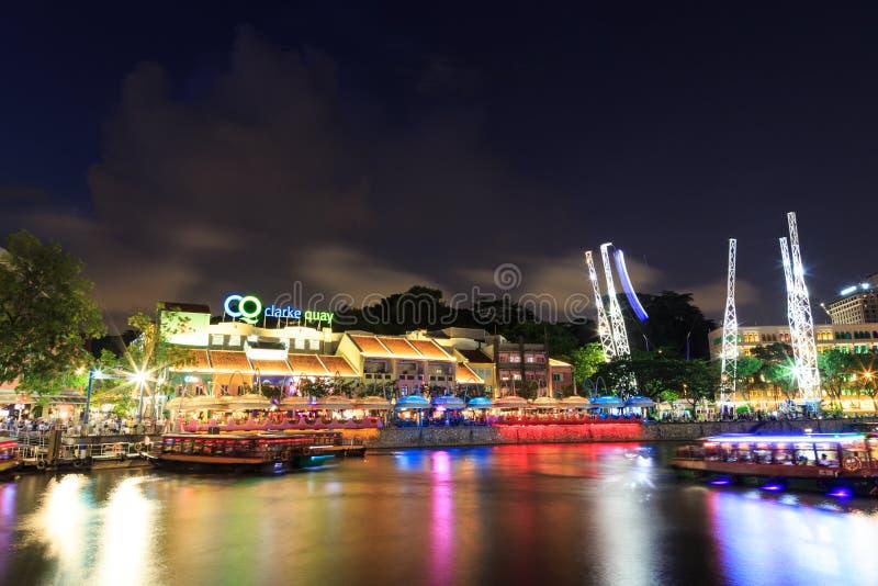 Noche del muelle de Singapur clarke fotos de archivo libres de regalías