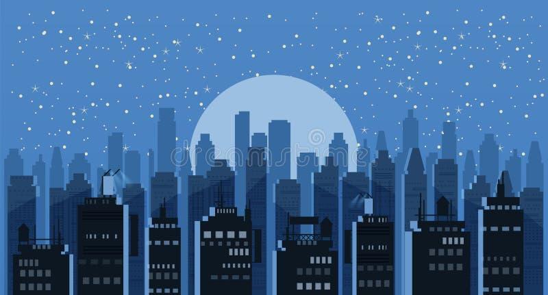 Noche del paisaje urbano Fondo panorámico del vector del horizonte moderno de la ciudad Ejemplo urbano del horizonte de los rasca stock de ilustración
