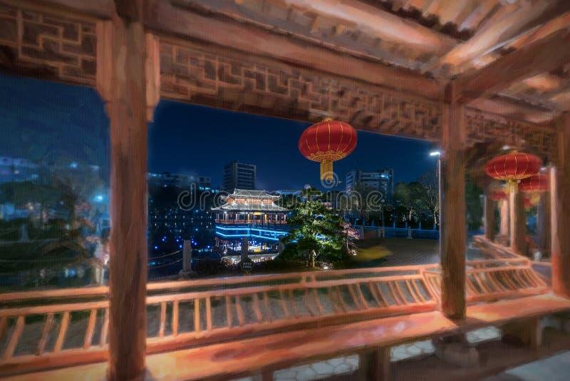 Noche del parque del pabellón del puente-Ruzi de la galería imagen de archivo libre de regalías