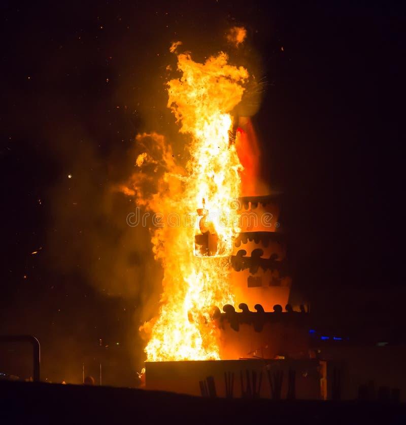 Noche del santo Anastasi Demonio ardiente imagen de archivo libre de regalías