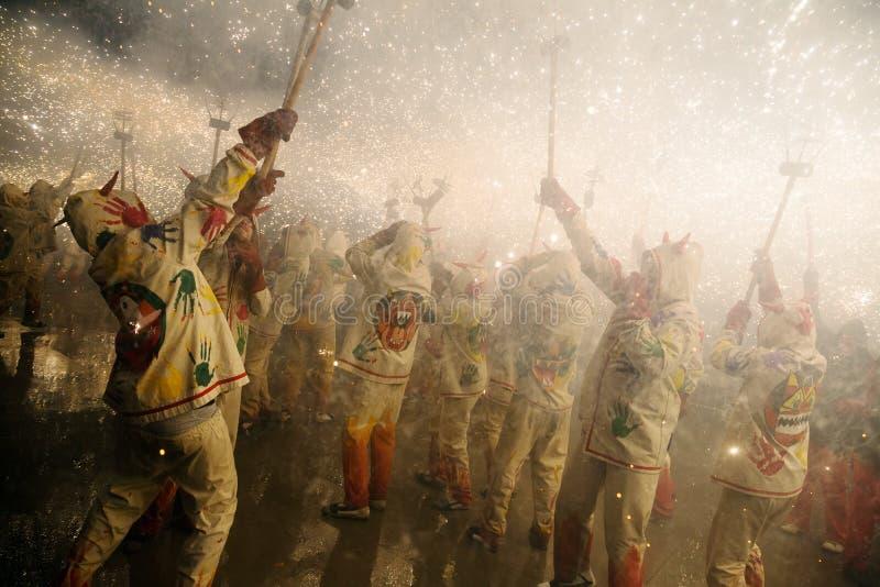 Noche del santo Anastasi Muestre con los fuegos artificiales encendido; ajuste en Badal fotos de archivo libres de regalías