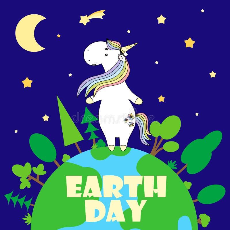 2018 03 noche del unicornio del día 26_earth ilustración del vector